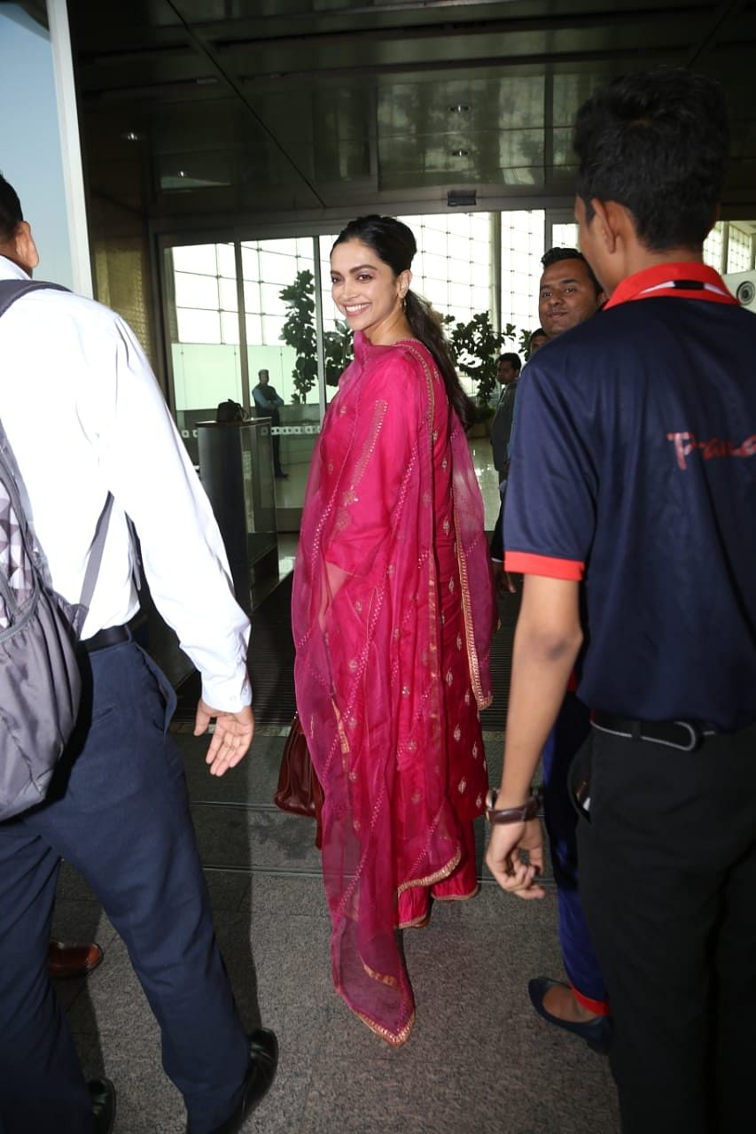 Deepika pairs her royal fuchsia pink salwar suit with Rs 2.7 lakh handbag