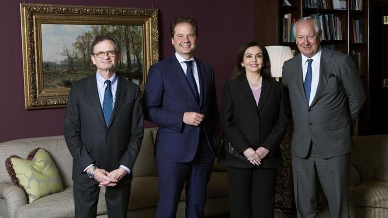 Nita Ambani, Daniel Brodsky, Chairman of the Board, Daniel Weiss, President & CEO, and Max Hollein, Director, on the occasion of Ambani's election to the Board of Trustees