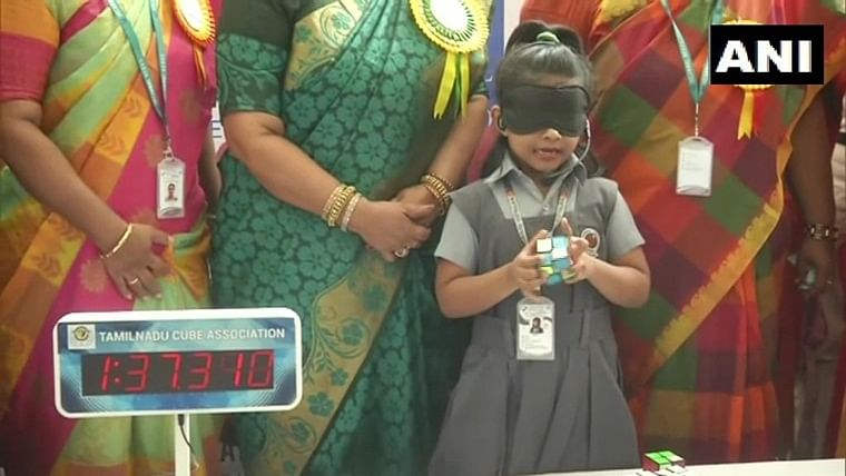 6-year-old Chennai girl solves Rubik's cube puzzle blindfolded, declared as 'World's Youngest Genius'