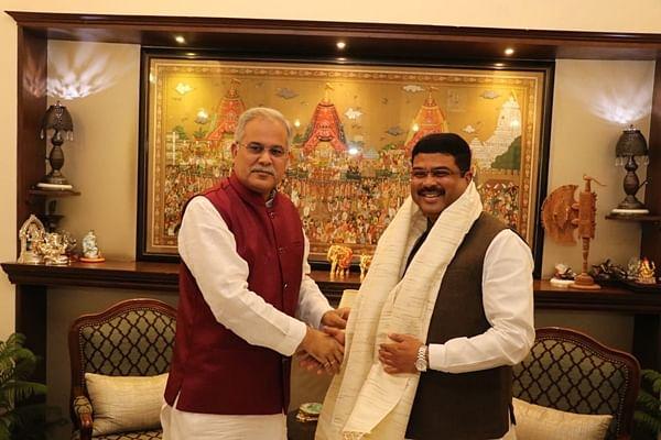 CM Bhupesh Baghel meets Petroleum Minister Dharmendra Pradhan