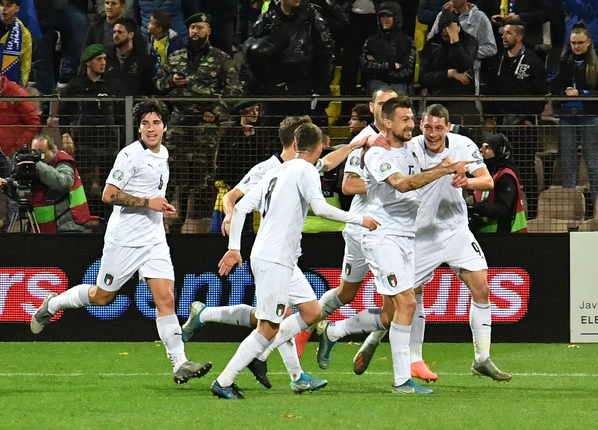 Players of Italian national soccer team, celebrate after scoring against Bosnia and Herzegovina, during EURO2020 qualifier match, in Zenica.