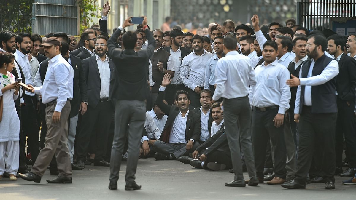 Advocates in the Delhi High Court and all district courts abstained from judicial work to protest against the clashes last week between lawyers and police at Tis Hazari Court complex, in New Delhi.