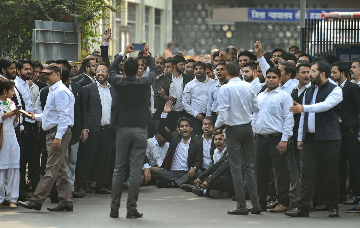 Advocates in the Delhi High Court and all district courts abstained from judicial work to protest against the clashes last week between lawyers and police at Tis Hazari Court complex, in New Delhi, Monday, Nov. 4, 2019.