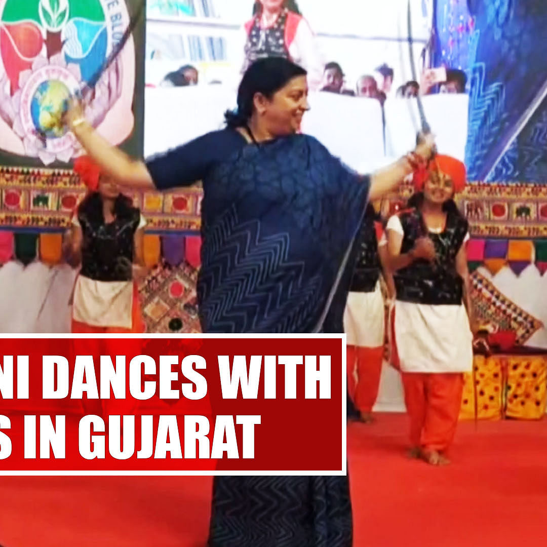 Watch Video: Smriti Irani dances with swords in Gujarat