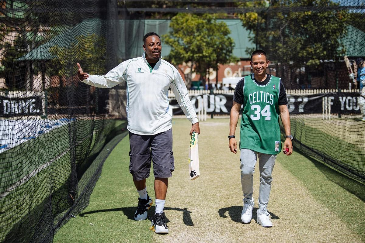 Usman Khawaja speaks with Boston Celtics legend Paul Pierce