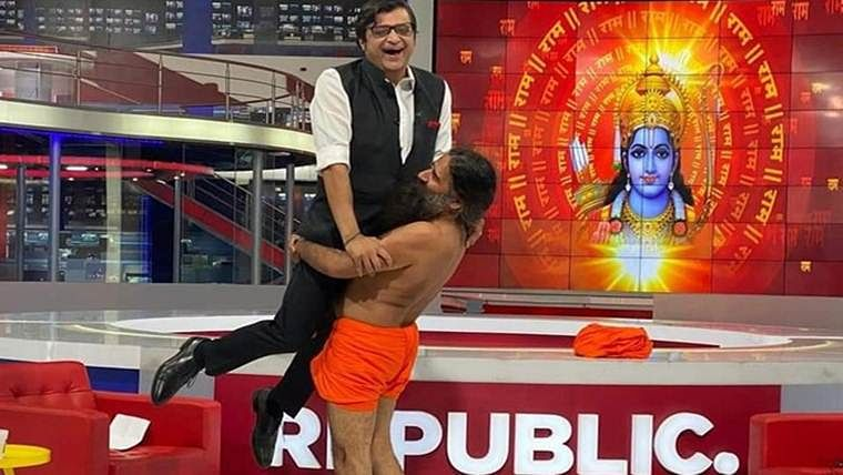 'Baba Ramdev Liftasana with Arnab Goswami': When Ramdev lifted Arnab and the internet couldn't keep calm