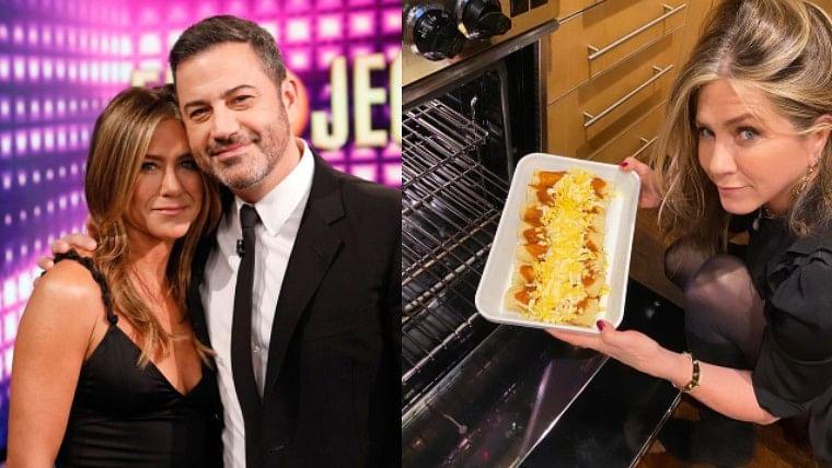 Friendsgiving: Jennifer Aniston prepares 'enchiladas' for Jimmy Kimmel