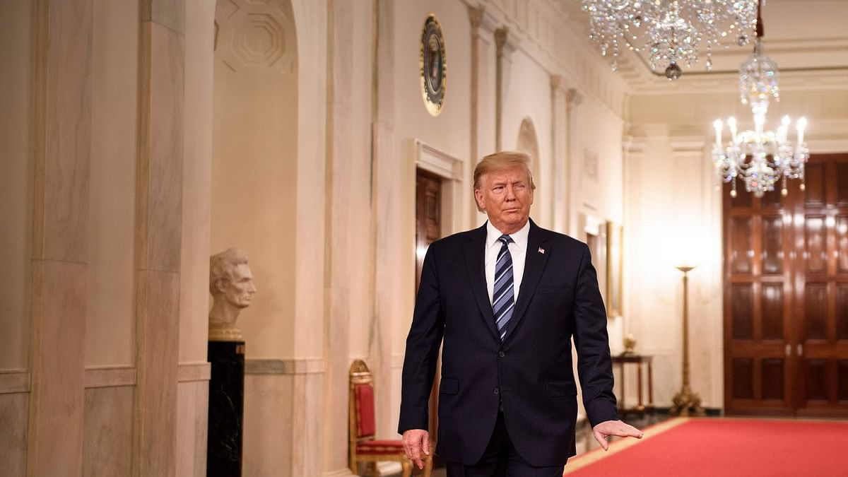 US President Donald Trump in the East Room of the White House in Washington, DC.