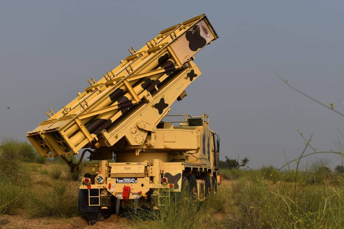 The indigenously manufactured MBRL PINAKA in action during Ex-Sindhu Sudarshan.