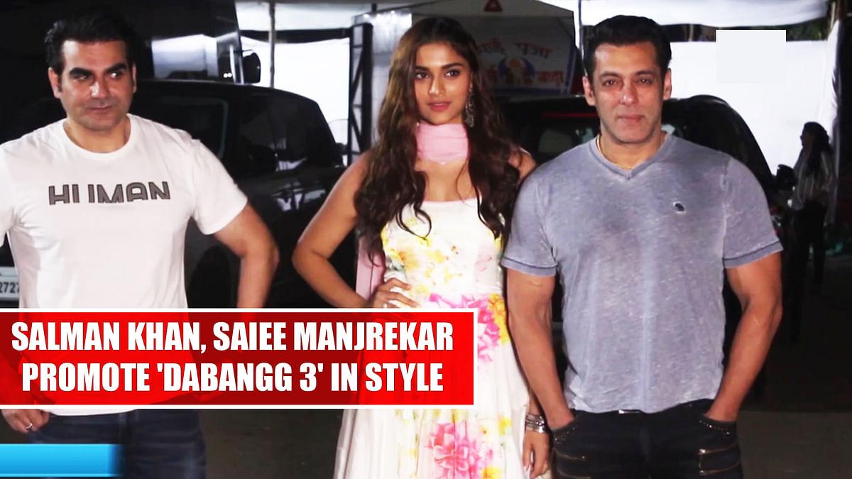 Salman Khan, Saiee Manjrekar promote 'Dabangg 3' in style