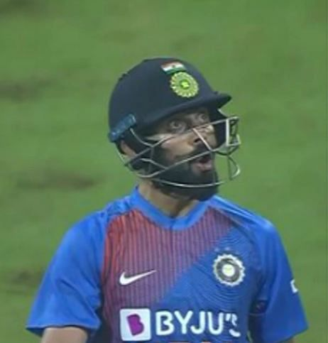 Virat Kohli sledges Kesrick Williams with comical look of surprise after hitting a six