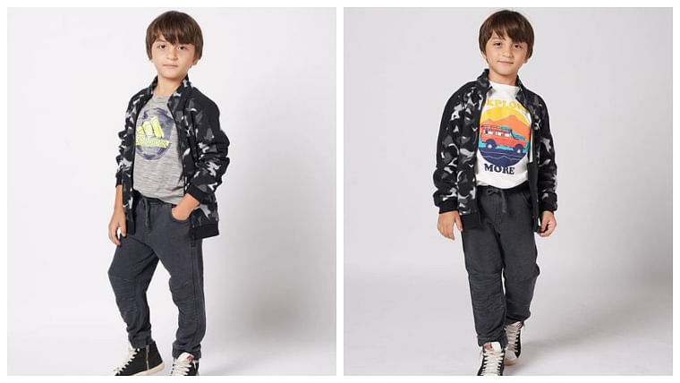 AbRam's new camo bomber jacket and his cheeky smile is all you need on a boring Thursday