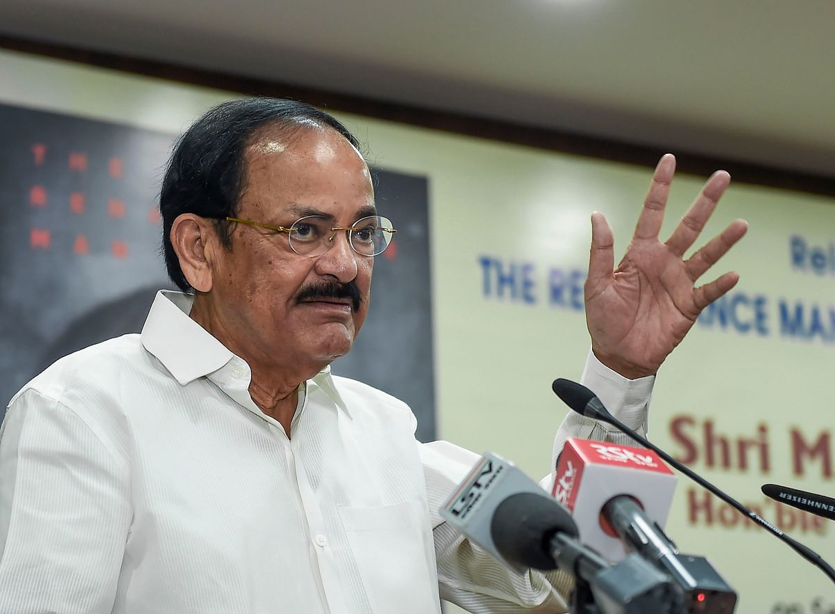 New Delhi: Vice President M. Venkaiah Naidu speaks during the release of book 'The Renaissance Man-  The Many Facets of Arun Jaitley', in New Delhi, Saturday, Dec. 28, 2019.