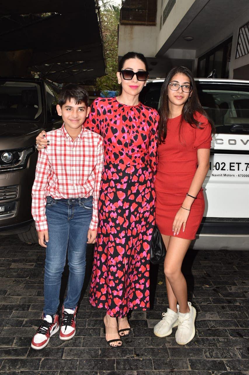 Karisma Kapoor and her kids Kiaan and Samiera