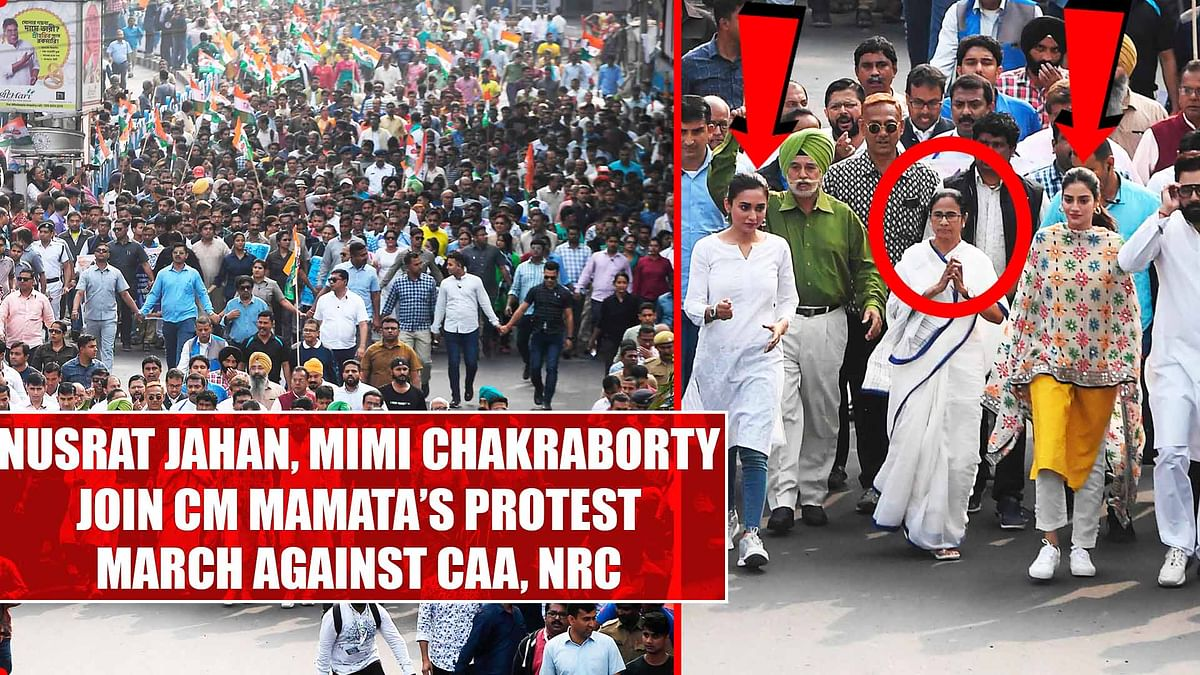 Nusrat Jahan, Mimi Chakraborty join CM Mamata's protest march against CAA, NRC
