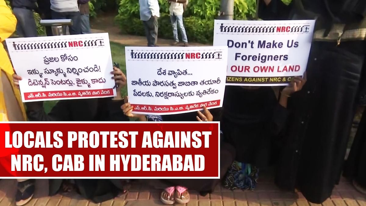 Locals protest against NRC, CAB in Hyderabad