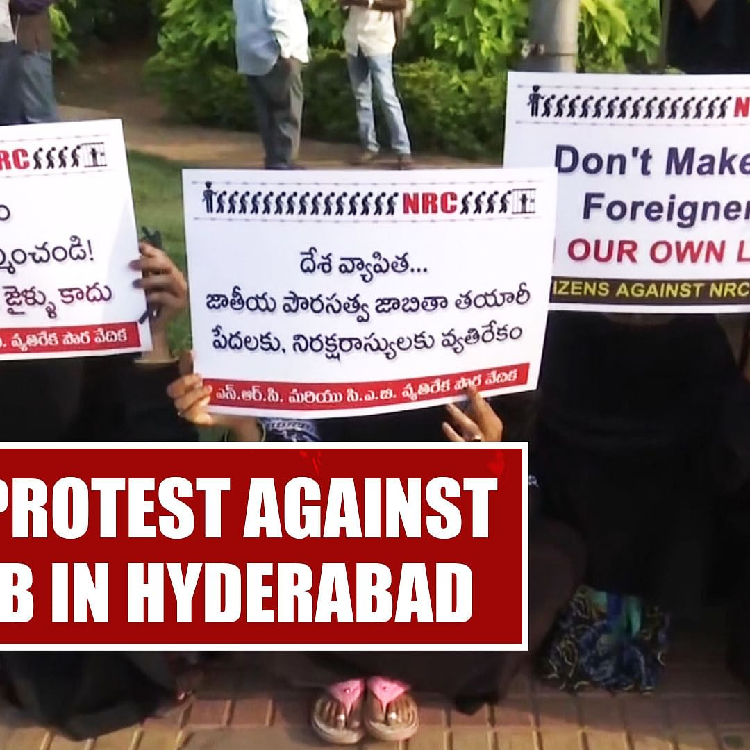 Locals protest against NRC, CAB in Hyderabad