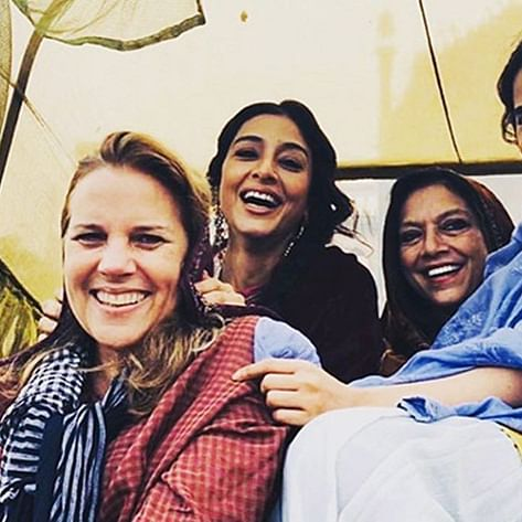 A Suitable Boy: Tabu poses happily with director Mira Nair as she wraps the shoot