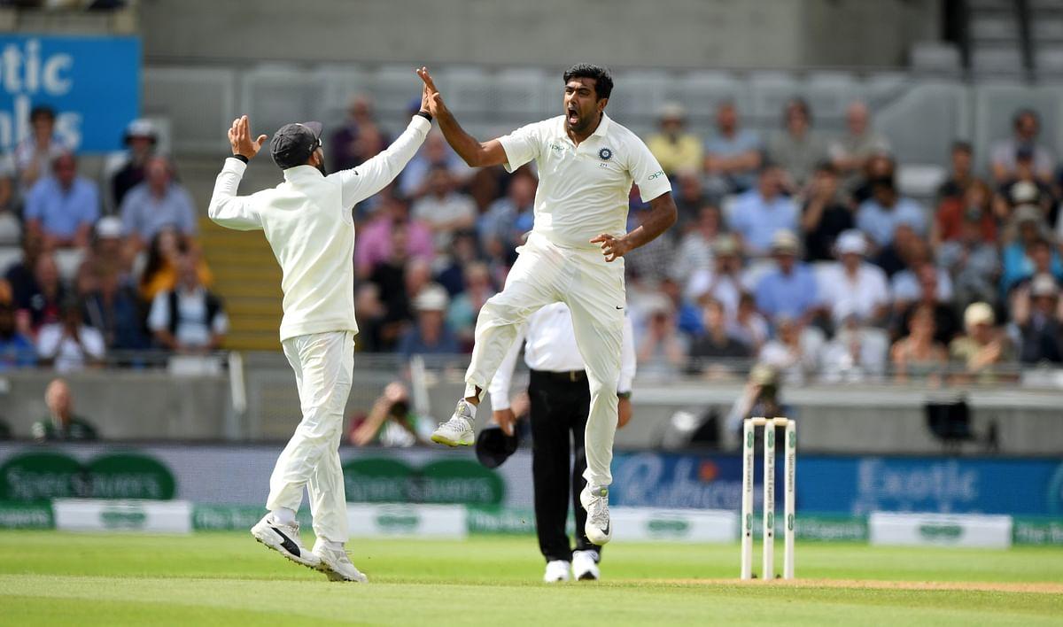 Ravi Ashwin celebrates a wicket.