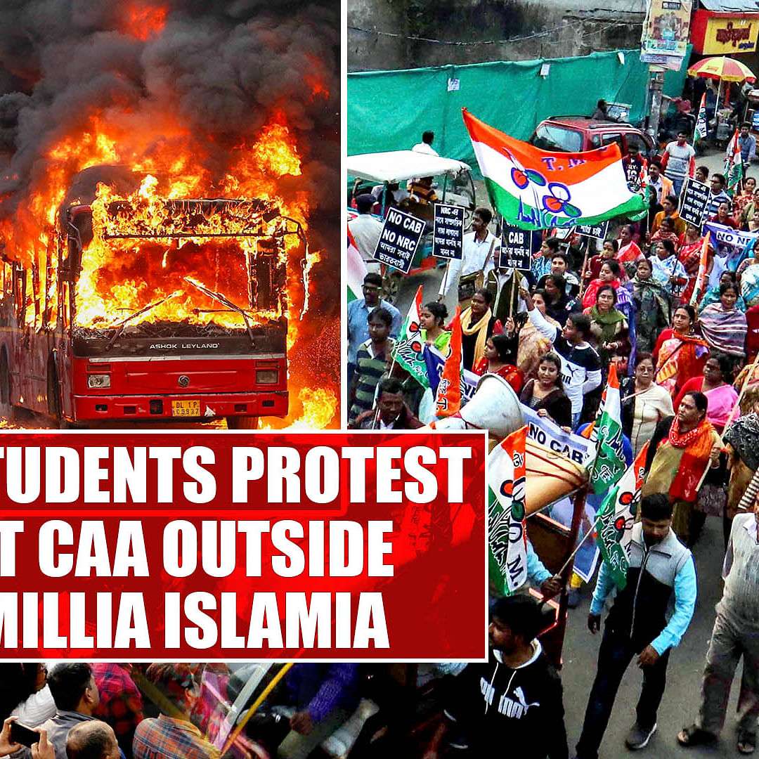 Locals, students protest against CAA outside Jamia Millia Islamia