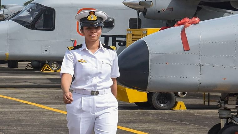 Sub-lieutenant Shivangi while joining as the first woman pilot of Indian Navy, at a ceremony in Kochi, Monday, Dec. 2, 2019.