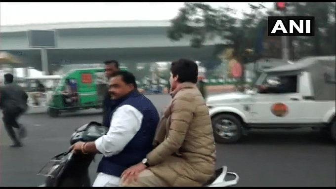 Congress leader Priyanka Gandhi takes ride on scooty; owner gets traffic ticket for not wearing helmet