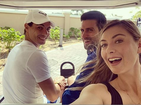 Tennis stars Rafael Nadal, Novac Djokovic and Maria Sharapova went  golfing in Abu Dhabi
