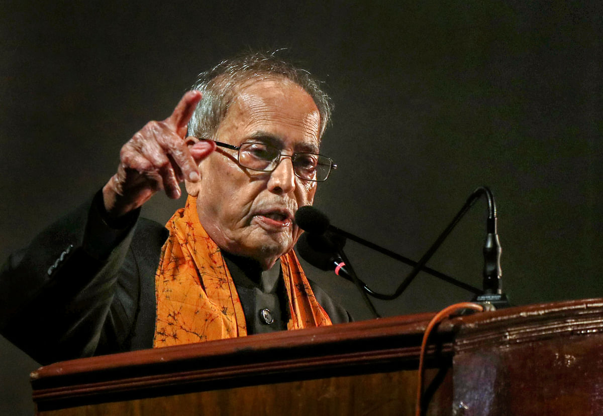 Former president Pranab Mukherjee delivers his speech on 'Has Parliamentary Democracy Succeeded in India' at Santiniketan in Birbhum district of West Bengal, Tuesday, Dec. 10, 2019.
