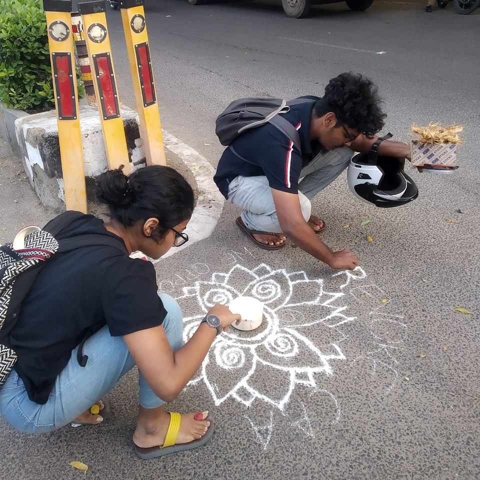 7 detained in Chennai for drawing anti-CAA rangoli on streets, released later