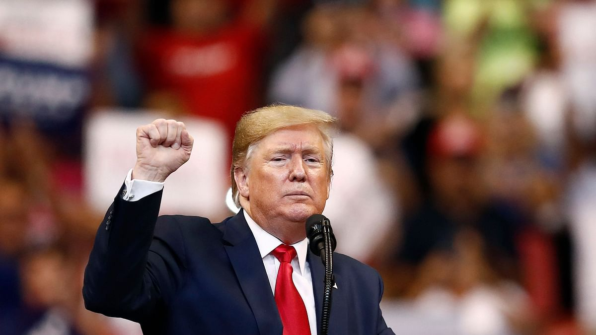 President Donald Trump gestures after speaking at a campaign rally Tuesday, Nov. 26, 2019, in Sunrise, Fla.