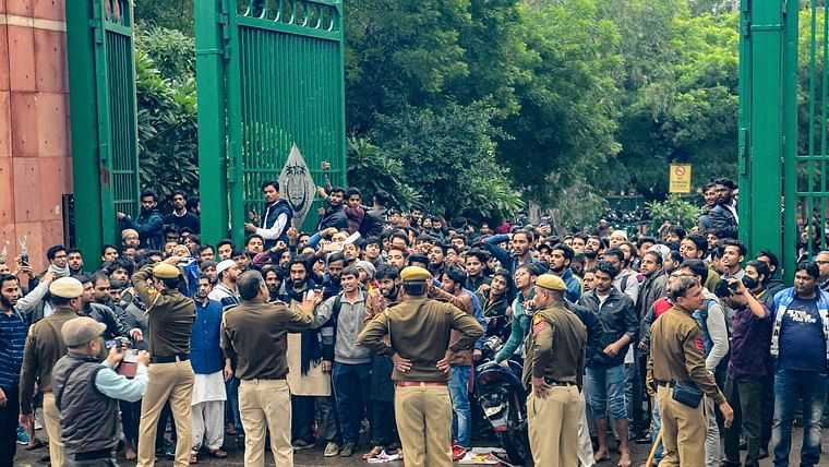 Students of Jamia Millia Islamia University protest against the Citizenship Amendment Bill (CAB).