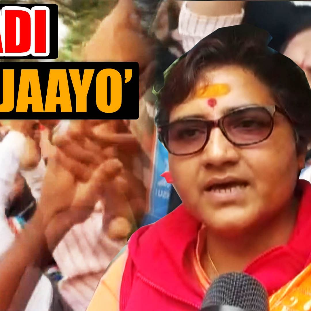 NSUI workers raise 'aatankwadi wapas jaayo' slogan during Pragya's visit to Makhanlal University