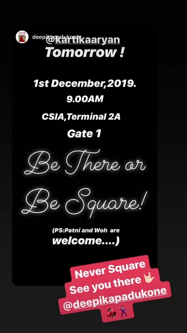 Be There or Be Square: Deepika Padukone warns Kartik Aaryan
