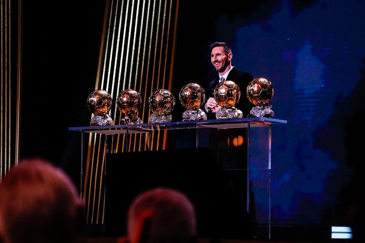 Lionel Messi with his Ballon D'Or haul