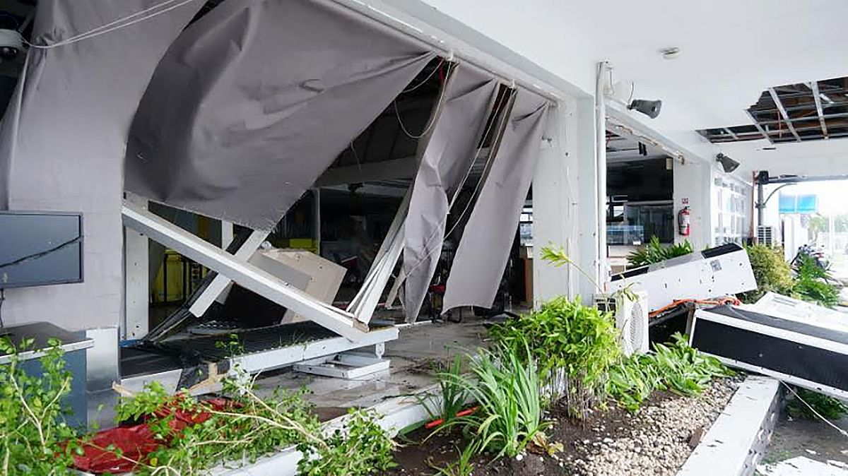 A view of the destroyed wall of the passenger terminal in Legaspi City, Albay province, south of Manila on December 3, 2019, after Typhoon Kamurri battered the province.