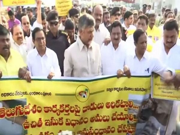 N Chandrababu Naidu stages protest accuses Andhra CM of vindictive attack on TDP