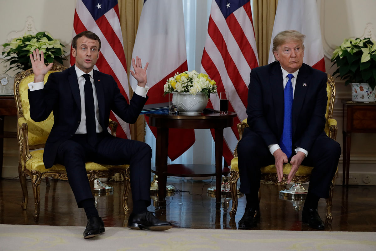 President Donald meets French President Emmanuel Macron at Winfield House, Tuesday, Dec. 3, 2019, in London.