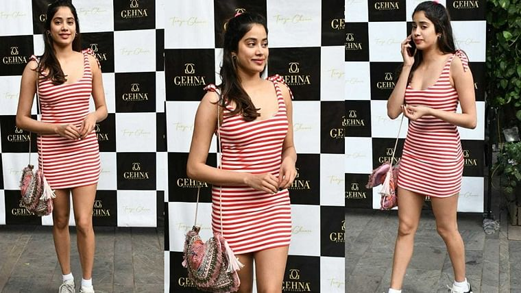 Christmas came early: Janhvi Kapoor looks like candy cane in striped dress