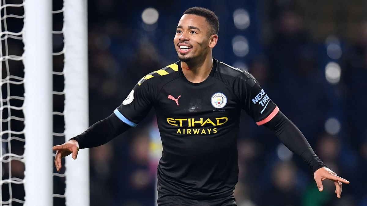 Manchester City's Brazilian striker Gabriel Jesus celebrates after scoring their second goal during the English Premier League football match between Burnley and Manchester City at Turf Moor in Burnley, north west England.