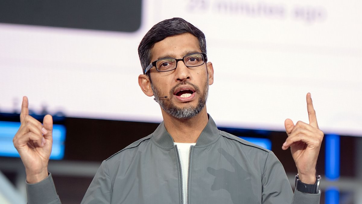 Sundar Pichai speaks during the Google I/O 2019 keynote session at Shoreline Amphitheatre in Mountain View, California.