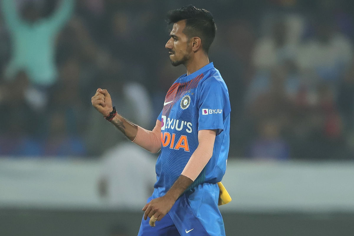 Yuzvendra Chahal dismisses West Indies skipper Kieron Pollard in the first T20I at Rajiv Gandhi International stadium on Friday.