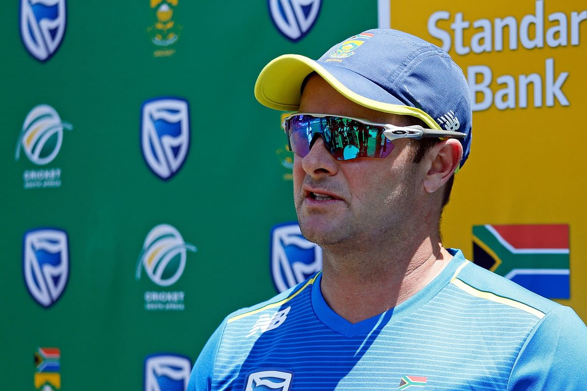 South Africa's cricket team head coach Mark Boucher speaks to the press following a team training session at the Supersport Park Cricket Stadium in Centurion, ahead of a four match Test series against England starting on December 26.
