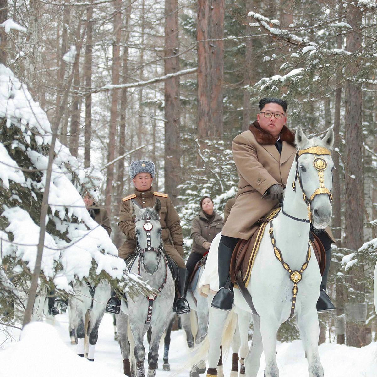 North Korean leader Kim Jong Un rides up Mount Paektu