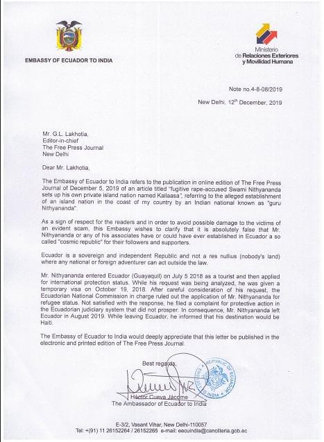 Swami Nithyananda left Ecuador in Aug 2019: Ecuador Embassy to FPJ