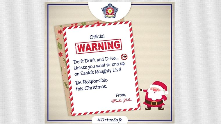 Don't end up on Santa's naughty list: Mumbai Police wishes Merry Christmas with a warning against drunk driving