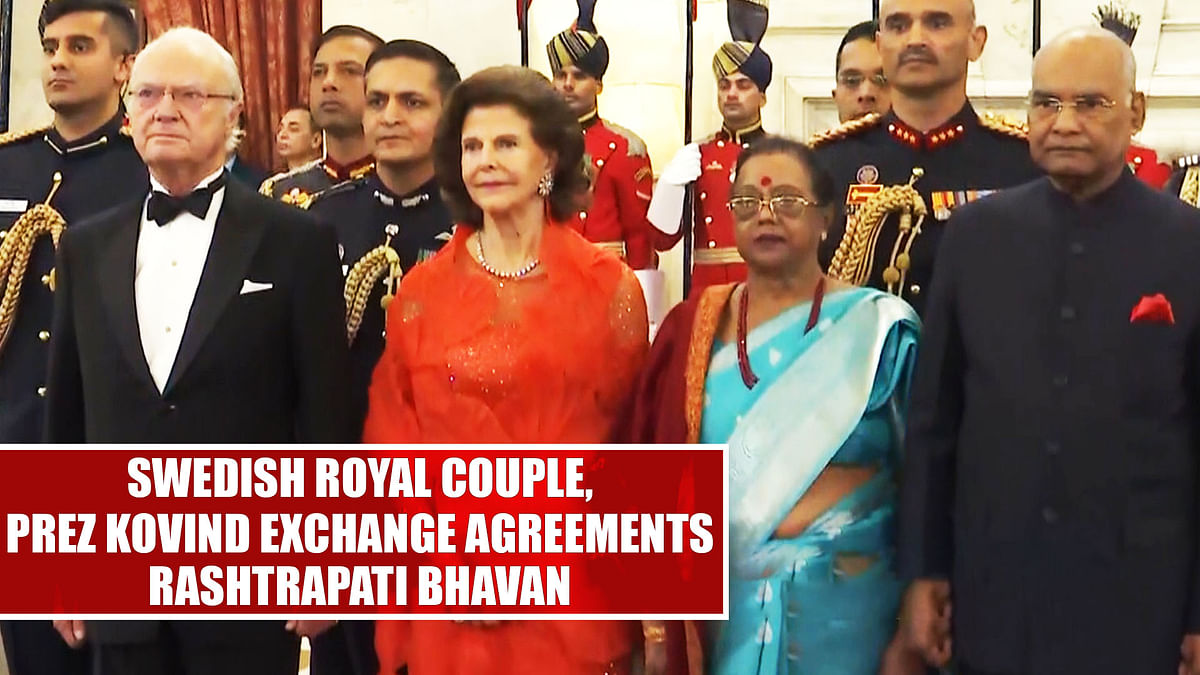 Swedish royal couple, Prez Kovind exchange agreements at Rashtrapati Bhavan