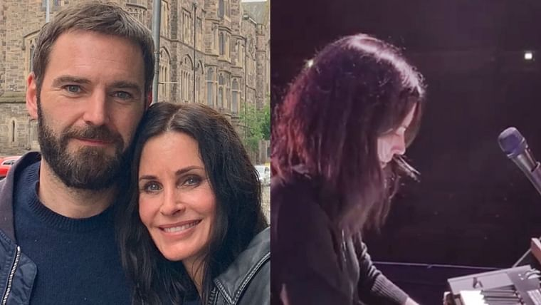In London! Courteney Cox flaunts her piano skills with boyfriend Johnny McDaid on stage