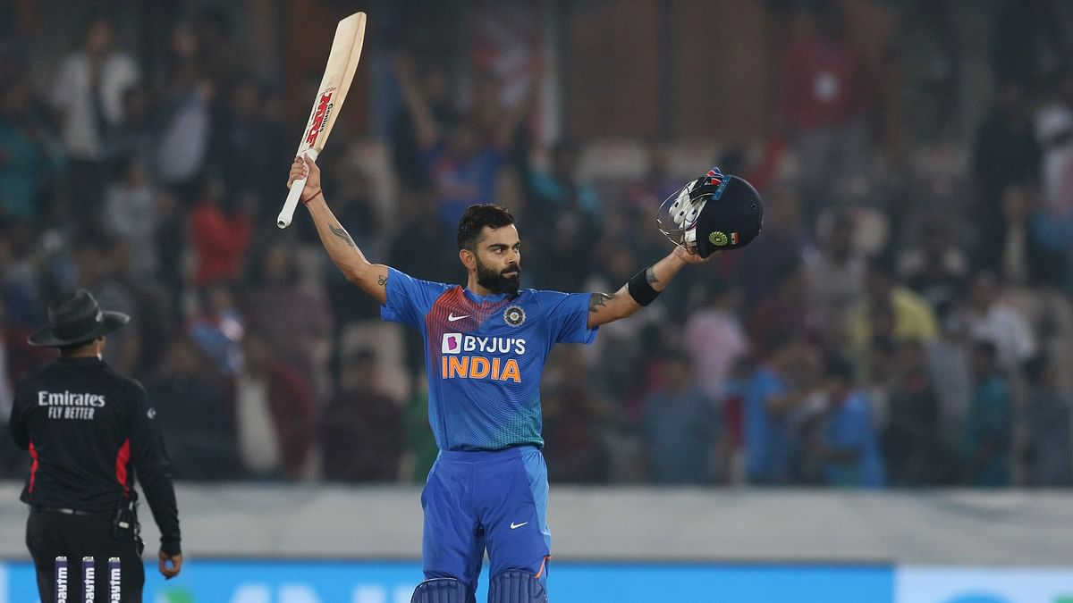 Indian skipper Virat Kohli celebrates after winning the First T20 Match between India and West Indies at Rajiv Gandhi Cricket Stadium in Hyderabad on Friday.