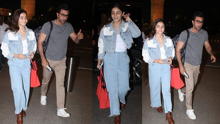 Alia Bhatt looks super excited as she's spotted with beau Ranbir Kapoor before jetting off for their New Year vacay