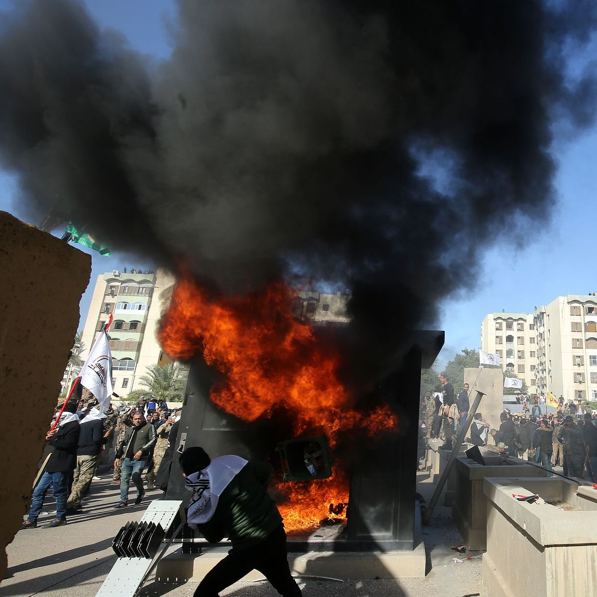 US Embassy in Baghdad stormed by protesters